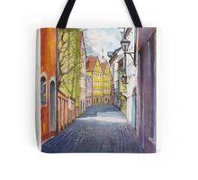 Narrow alley in Regensburg, Germany Tote Bag
