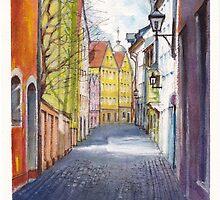 Narrow alley in Regensburg, Germany by Dai Wynn