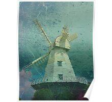 Windmill Blue Poster