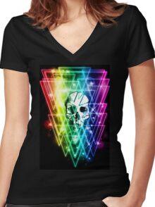 Retro Skull Women's Fitted V-Neck T-Shirt