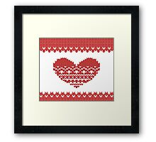Red Knitted Look Love Heart  Framed Print