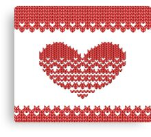Red Knitted Look Love Heart  Canvas Print
