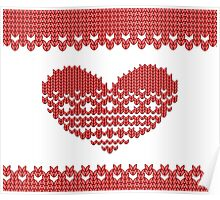 Red Knitted Look Love Heart  Poster