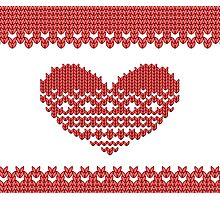 Red Knitted Look Love Heart  Photographic Print