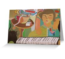 Piano player and cat for sale 800 Euros Greeting Card