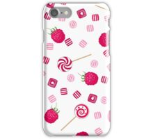 Raspberry lollipops, candy and chewing gum seamless pattern background iPhone Case/Skin