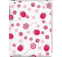 Raspberry lollipops, candy and chewing gum seamless pattern background iPad Case/Skin