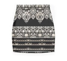 Seamless lace lacy washi tapes ribbon pattern on black texture Pencil Skirt