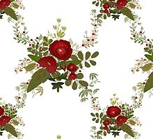 Seamless floral pattern with red poppies on white by fuzzyfox