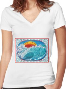 Surreal Wave A3 Women's Fitted V-Neck T-Shirt