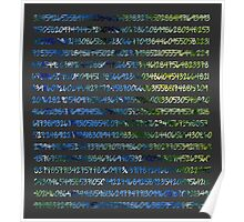 Digits of Pi (Green & Blue on Grey Background) Poster