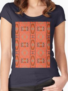rectangles and diamonds on orange Women's Fitted Scoop T-Shirt