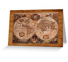 Hondius's 1630 AD World Map on Parchment effect BG Greeting Card