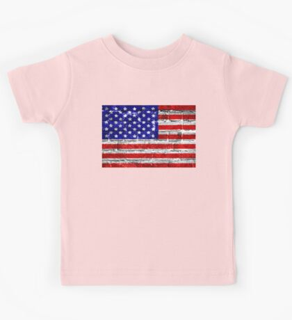 USA Flag Brick Wall Kids Tee