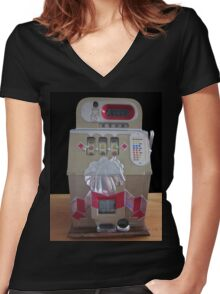 Old Slot Machine  Women's Fitted V-Neck T-Shirt