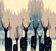 Beautiful deer in the snowy forest by cheeckymonkey