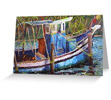 Blue Fishing Boat, Kerala Greeting Card