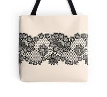 Horizontal black lace ribbon. Tote Bag