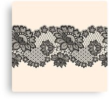 Horizontal black lace ribbon. Canvas Print