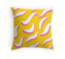 white squiggles on yellow background Throw Pillow