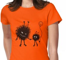Evil Cartoon Bug Mother And Child Womens Fitted T-Shirt