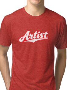 GenuineTee - Artist (white/pink) Tri-blend T-Shirt