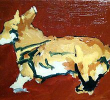Olive Hauling Ass (oil on wood) by Matthew Moffatt