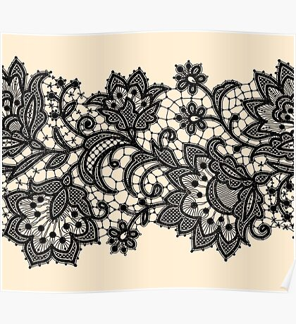 Black Lace, Seamless Pattern, Flowers. Poster