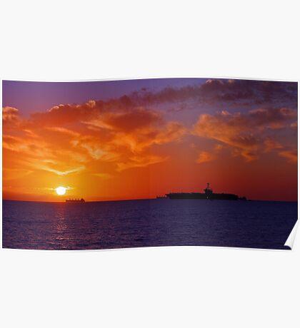 USS George Washington At Sunset  Poster