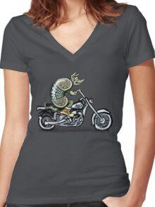 Biker Dillo Women's Fitted V-Neck T-Shirt