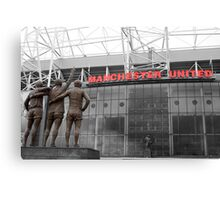 Manchester Utd Trinity salute Sir Matt Busby and Old Trafford Canvas Print