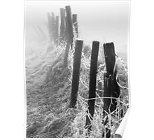 Frosty Fence in Fog Poster