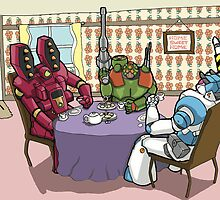 Killer-bot Tea party by sonicdandroid