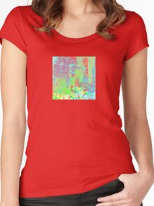 Decorative Abstract in Red, Orange, Green, Blue, and Purple Women's Fitted Scoop T-Shirt