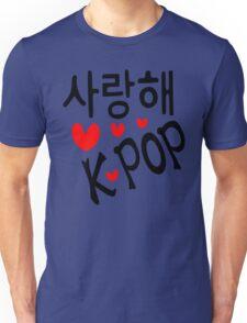 I LOVE KPOP in Korean language txt hearts vector art  Unisex T-Shirt