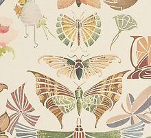 Vintage pink brown floral butterfly pattern by Maria Fernandes