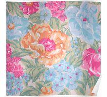 Vintage pink blue orange floral pattern Poster