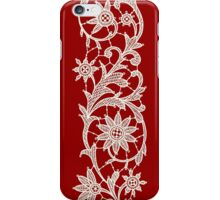 Red Lace, Seamless Pattern, Flowers. iPhone Case/Skin