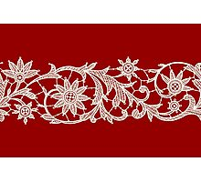Red Lace, Seamless Pattern, Flowers. Photographic Print