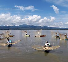 BUTTERFLY NET FISHERMEN - LAKE PATZCUARO by Michael Sheridan