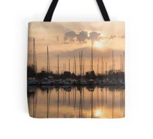 Pale Gold Sunrise With Yachts  Tote Bag