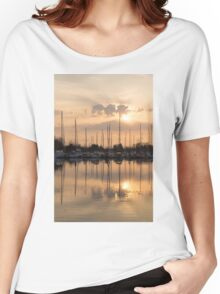 Pale Gold Sunrise With Yachts  Women's Relaxed Fit T-Shirt