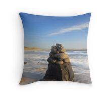 Beach Sculpture, Embleton Bay, Northumberland Throw Pillow