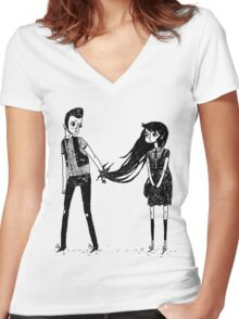 Please Don't Leave Me... Women's Fitted V-Neck T-Shirt