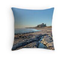 Bamburgh Beach, Northumberland Throw Pillow