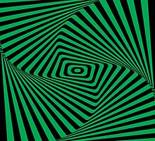Op-Art Rad Rectangles in Green by Reece Caldwell