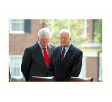 Former Presidents Bill Clinton,Jimmy Carter Art Print