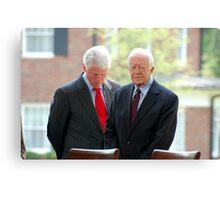 Former Presidents Bill Clinton,Jimmy Carter Canvas Print