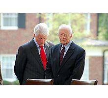 Former Presidents Bill Clinton,Jimmy Carter Photographic Print