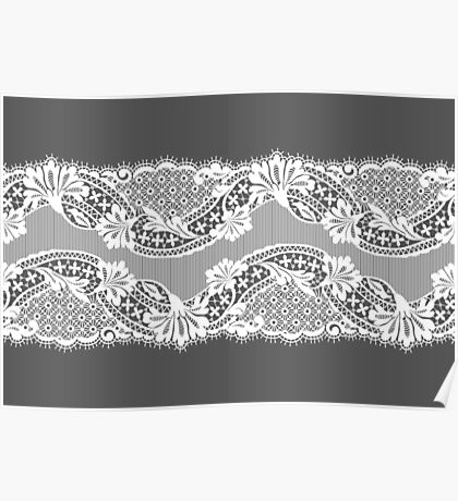 White lace ribbon. Poster